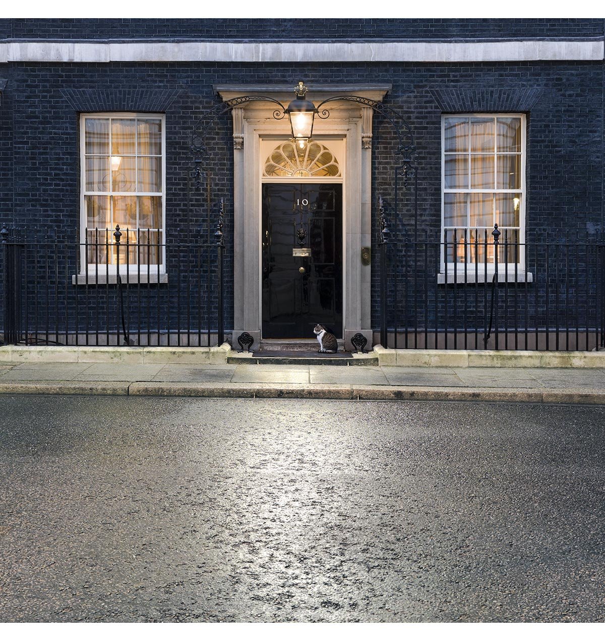 10 Downing Street and Larry the cat. Whitehall, London